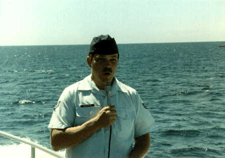 Air Force Staff Sergeant Rich Walrath, under way in the Fayal-Pico